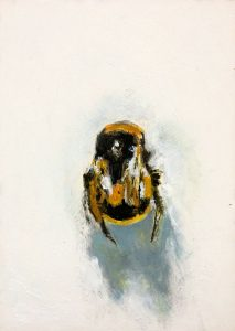 Bumblebee mixed media on boar private commission