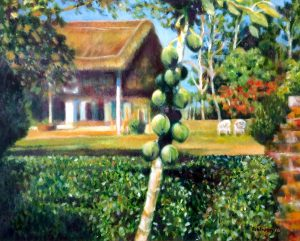 """Bungalow with Papayas oil on canvas 20"""" x 16"""" £450"""