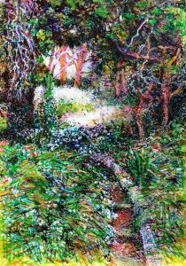 """Path mixed media on paper 15"""" x 17"""" framed £250"""