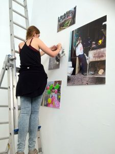My Cowley Road Carnival photographs being put up at the Old Fire Station, Oxford