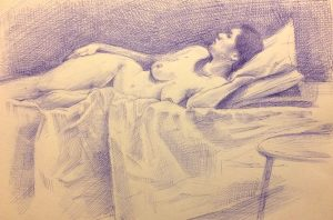 Reclining Nude biro on paper