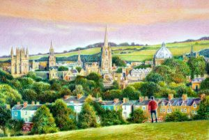 "Oxford from South Parks coloured pencil and gouache on paper framed 36"" x 28"" SOLD"